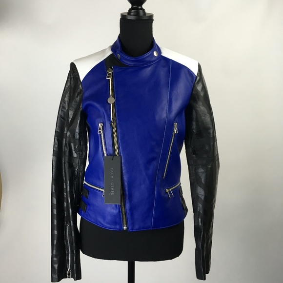 View Each X Other Black Leather Biker Jacket Pics